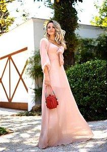 Vestido Longo Toque de Seda - Liso
