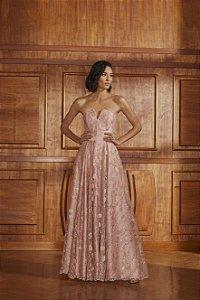 Vestido Longo Evasê Rendado Agilitá - Rosa