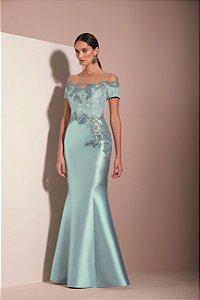 Vestido Longo Bordado Zibeline Kalandra - Azul