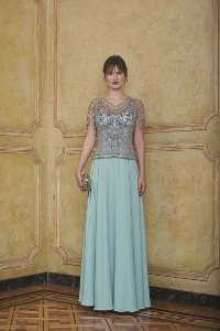 Vestido Longo Bordado Kalandra - Azul Tiffany