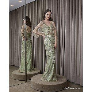 Vestido Longo Kafta Renda Bordada  Arte Sacra - Verde