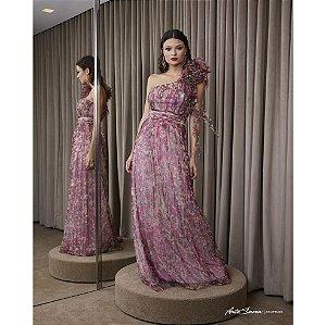 Vestido Longo Plissado Flores Desejo - Estampado