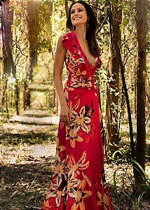 Vestido Longo PatBo - Vinho Estampado