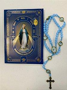 Combo Sob o Manto de Maria a vitória e certa + Terço de Nossa Senhora das Graças| Azul (Hesed)