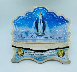 Porta Bíblia MDF Carvalho 6mm com foto Nossa Senhora das Graças (3752)