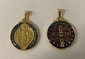 Medalha São Bento esmaltada 20mm Dourada (5215)