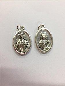 Medalha Italiana sagrado Coração de Jesus / Imaculado Coração de Maria (8327)