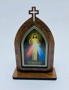 Capela 15cm madeira sem porta - Jesus Misericodioso (723)