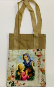Bolsa com Alça em tecido 34 x 26 cm - Nossa Senhora com Santa Ana