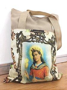 Bolsa com Alça em tecido 34 x 26 cm - Santa Barbara