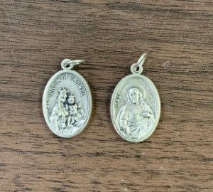 Medalha Italiana Sagrado Coração de Jesus / N. Sra. do Carmo (8327)