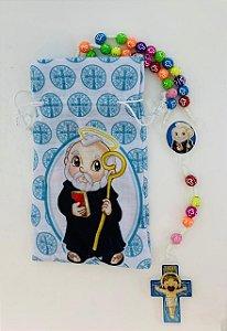 Terço Infantil Color com saquinho estampado - São Bento (3697)