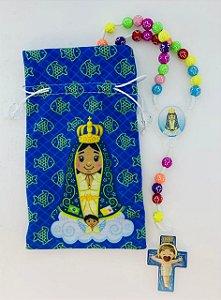 Terço Infantil Color com saquinho estampado - N. Sra. Aparecida (3697)