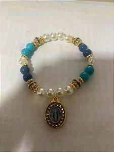 Pulseira Virgem Maria Azul (7103)