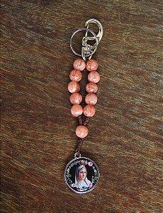 Chaveiro Dezena Nossa Senhora de Fátima 10mm rosa (7687)