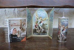 Kit 2 - Quaresma de São Miguel: Capelinha de São Miguel + vela de 7 dias de São Miguel + livro Vitória no combate