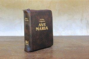 BÍBLIA SAGRADA AVE-MARIA ZÍPER BOLSO MARROM