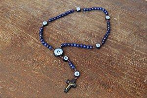 Terço madeira azul cordão 8mm Nossa Senhora das Graças  (2944)