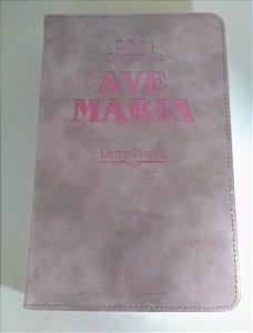 Bíblia Ave-Maria stryke rosa - letra maior (5998)