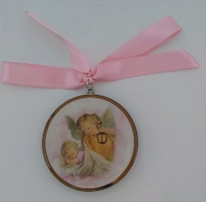 Adorno de berço Santo Anjo da Guarda - Rosa (7101)