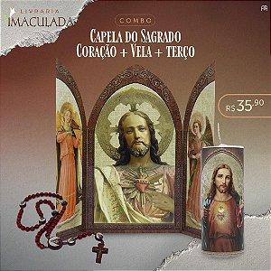 Combo Sagrado Coração de jesus: Capela + Vela 7 dias + Teço