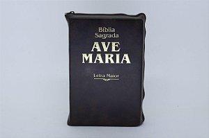 Bíblia Sagrada Ave-Maria Letra maior zíper marrom (5997)