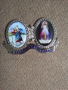 Adorno para carro em metal com adesivo - São Cristóvão e Jesus Misericordioso