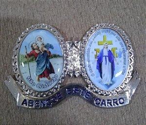 Adorno para carro em metal com adesivo - São Cristóvão e Nossa Senhora das Graças