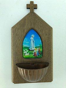 Pia para água benta madeira - Nossa Senhora de Fátima