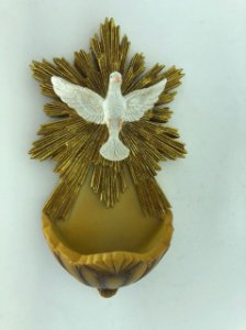 Pia para água benta em resina - Espírito Santo 19 cm (7011)
