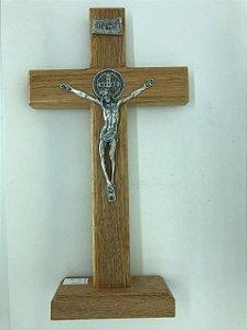 Cruz mesa ou parede madeira com Cristo em aço 26 cm (5800)