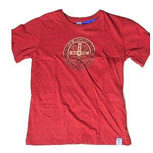 Camiseta Infantil Medalha de São Bento - vermelha - 12 Anos