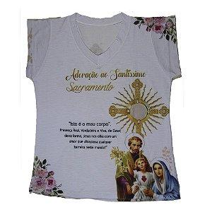 Camiseta babylook Adoração ao Santíssimo Sacramento