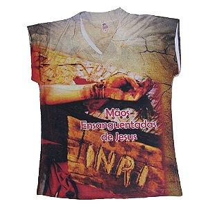 Camiseta babylook Mãos Ensanguentadas de Jesus