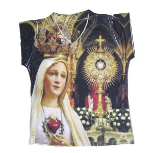Camiseta babylook Nossa Senhora de Fátima com Ostensório