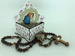 Porta terço MDF com terço - Nossa Senhora Mãe de Deus