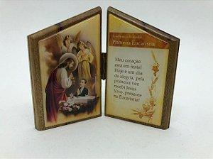 Capela de Madeira resinada 10 cm - Lembrança da minha Primeira Eucaristia