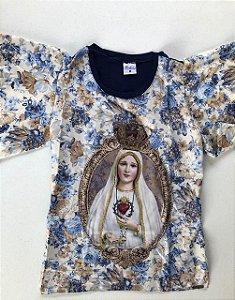 Camiseta Nossa Senhora de Fátima - Floral azul