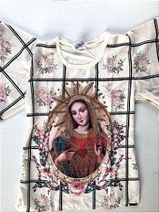 Camiseta Imaculado Coração de Maria - floral creme