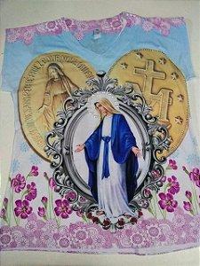 Camiseta babylook Nossa Senhora das Graças com medalhas