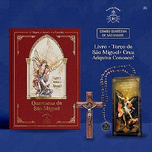 Combo 5: Livro Quaresma de São Miguel + Terço de São Miguel + Cruz 9 cm