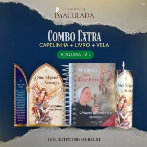 Combo São Miguel EXTRA: Livro A Vitória no Combate + Capela de São Miguel + Vela Votiva de São Miguel