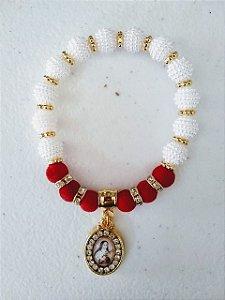 Pulseira Santa Teresinha medalha com strass