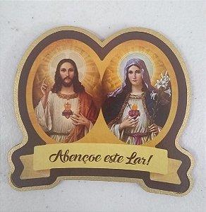 Medalha de porta MDF sem resina Sagrado Coração de Jesus / Maria (8036)