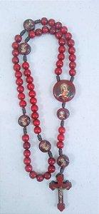 Terço madeira vermelho cordão 8mm Sagrado Coração de Jesus/Maria (2944)