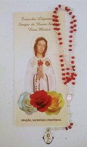 Terço Rosa Mística miçanga com folheto (3734)