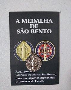 Medalha São Bento 20mm com folheto 104-NIQ (8172)