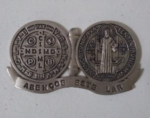 Medalhão Devocional Medalha de São Bento Niquel (6016)