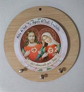 Porta chaves redondo - Sagrado Coração de Jesus / Imaculado Coração de Maria (8113)