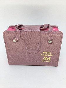Bíblia Sagrada Ave-Maria bolso com alça - rosa (0699)